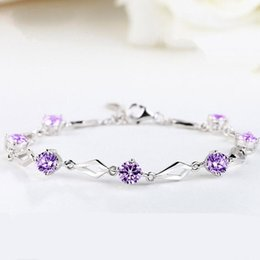 China Diamond love Japan and South Korea fashion diamond car flowers set diamond bracelet girls hand ornaments plated 925 silver ornaments wholesa suppliers