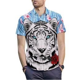 c2277036b Creative Tiger Head Printed 3D Men Shirt 2019 Fashion Hawaiian Shirt Casual  Summer Clothes Male Short Sleeve Social Dress Shirt