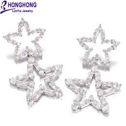 $enCountryForm.capitalKeyWord Australia - big dangle earrings For Women Shining Double star drop Earrings AAA+ Zircon Wedding fashion Jewelry