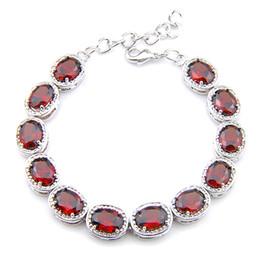 Luckyshin 6Pcs lot Shiny Oval Red Garnet Gems 925 Sterling Silver Plated Chain Bracelets Russia Australia USA Bracelets Bride Jewelry 8' on Sale