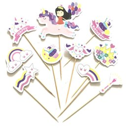Kids Cupcake Party Australia - Unicorn children cake Birthday cake around unicorn paper insert card party decoration Kids happy birthday supplies Paper Cupcake Topper DIY