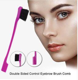 $enCountryForm.capitalKeyWord Australia - Double Sided Edge Control Eyebrow Brush Travel Hairbrush Smooth Comb Grooming Tool 2 in 1 Hair Styling Hair Brush