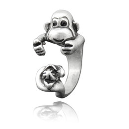 $enCountryForm.capitalKeyWord NZ - Boho Chic Retro Hippie Monkey With Banana Ring Anel For Woman Orangutan Animal Ring Men Jewelry Mid Finger Ring Party Gift
