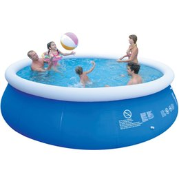 Swim Pool Family UK - Big Outdoor Child Summer Inflatable Family Swimming Pool Kids Toys Family Garden Play Pool Round Swimming Blue