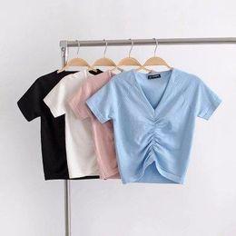 $enCountryForm.capitalKeyWord Australia - 2019 Female Cotton V-neck drawstring T-Shirt Short Sleeve Neck Summer Casual Solid T-Shirt High Waist Slim T-shirts for women