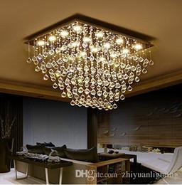 $enCountryForm.capitalKeyWord Australia - Modern Square K9 Crystal Raindrop Chandelier Lighting Flush Mount LED Ceiling Light Fixture for Dining Room Bathroom Bedroom Livingroom