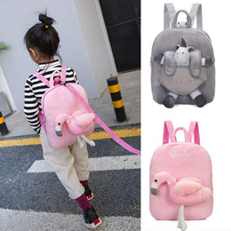 Cartoon baCkpaCk sChool bags plush animal online shopping - Unicorn Pink flamingo kindergarten satchel boy girl baby Mini school bag gift cotton plush doll backpack Cute Chic years