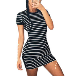 Girls Tassel Shirt Australia - 2019 Striped Drsss Slim Fit Shorts Sleeve O-neck Sexy Bodycon Mini Dress Casual Women Summer Dresses Black White Girls LX313