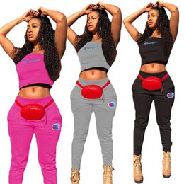 Wholesale women s thick winter leggings for sale - Group buy Champions Thick Women Brand Piece Sets Casual Suit Vest Leggings Tracksuits Crop Top Fall Winter Clothing Tank Top Jogger Suit Sell