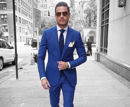 $enCountryForm.capitalKeyWord Australia - Custom Made Royal Blue Men Suits Groom Prom Casual Tailored Tuxedo Slim Fit Terno Blazer Masculino Jacket+Pants