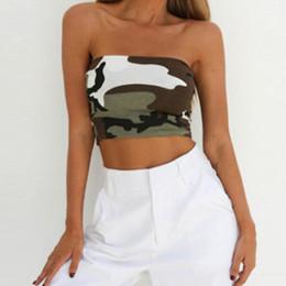 Ladies Camouflage Tops Australia - Summer Fashion Crop Tops Women Strapless Ladies Stretch Bandeau Bra Crop Tops Fashion Party Camouflage Printed Female Camis