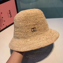 $enCountryForm.capitalKeyWord Australia - Fashionable Designer Caps Mens Woman Luxury Flat Straw Cap Wide Brim Hat Caps Breathable Brand Fitted Beach Hats 2 Model Option High Quality