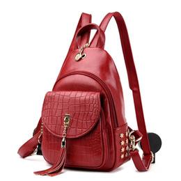 $enCountryForm.capitalKeyWord UK - Free2019 Backpack Shoulders Both Girls Small Tassels Leisure Time Soft Leather Crocodile Grain Single Shoulder Messenger Chest