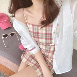 plaid suspender dress UK - make a BM girl Today, ~ French suspender skirt small short slim plaid women's summer dress