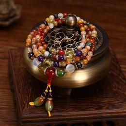 $enCountryForm.capitalKeyWord UK - Natural Colorful Crystal Quartz Beads Buddhist Bracelet Necklace 108pcs Prayer Bead Mala Bracelet necklace For Women Girl MX190718