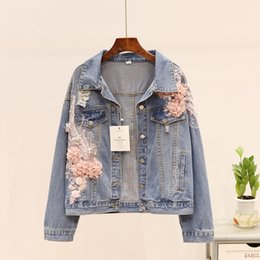 flower denim jacket Canada - Women Jeans Jacket Embroidery Stereos Flower Beading Long Sleeve Loose Short Jean Coat Spring Autumn Casual Denim Jacket Female