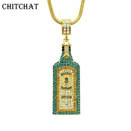 vogue jewelry china UK - Big Wine Bottle Necklaces Full Rhinestone Iced Out Pendants Hip Hop Men Women Gold Color Vogue Jewelry For Rocker J190517