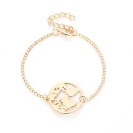 gold world charm 2019 - World Map Bracelets Fashion Bangles Jewelry Gold Silver Color Globe Earth Charm Bracelet Women Travel Jewelry Gift