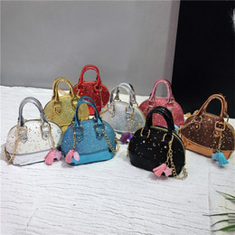 bag child colors Australia - Children Mini Shoulder Bags for Girls Shinning Glitter Purse for Toddler Kids Shell Sequin Bags with Chain Cute Handbags 8 colors ZFJ869