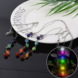 Reiki Healing Wholesalers Australia - Stone Beads Pendant Necklace Yoga Symbol Inlaid Reiki Energy Stone Healing Point 7 Chakra Charm Pendant Necklace