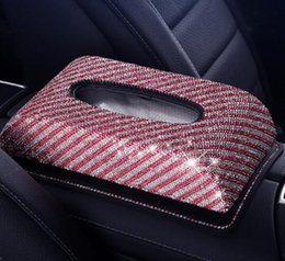 $enCountryForm.capitalKeyWord Australia - Full Diamond Crystal Leather Glitter Rhinestones Car Sun Visor PU Leather Tissue Box Auto Clip Holder Paper Napkin Accessories