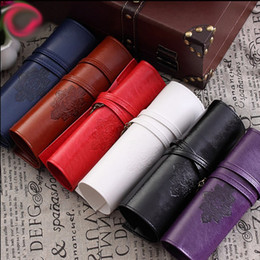 Color Leather Bags Australia - Pencil Case Retro Classical Black And White Color Waterproof PU Leather Storage Cosmetic stationery Bag handbag