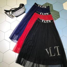 74643c241 Milan Designer Women 2019 Black / Red / Navy Blue Letter Print Faldas  Womens Mesh Faldas Womens Logo 6521
