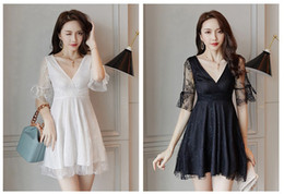 Black Low V Neck Gown Australia - Summer 2019 New Lace Ball Gown Sexy V-neck Low Chest Short Sleeve Fairy Night Club Dress Short Skirt QC0255