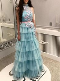 Princess crystal Party online shopping - Princess Cake Skirts Prom Dresses Tiered Handmade Flowers Appliques Cocktail party Dress With Sash Floor Length Sheer Neck Evening Gowns