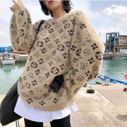 Wholesale women blend coat for sale - Group buy Design fashion web celebrity same style women s sweater sweater coat Europe station printing loose pullover women s sweater s xl