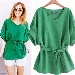 $enCountryForm.capitalKeyWord Australia - 2018 Summer Plus Size 5XL shirt women Linen short sleeve chiffon blouse green Bow Loose vintage ladies tops blusas mujer AD9