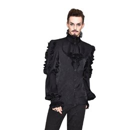 $enCountryForm.capitalKeyWord UK - Steampunk Victorian Mens Vintage Shirt Long Sleeve Luxury Court Pattern Retro Shirts Black White Gothic Collar Tuxedo Shirts