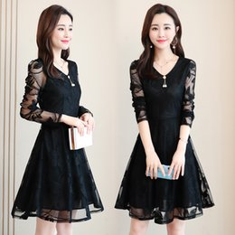 Floral petals online shopping - Large size women s lace dress spring new Korean version of the fashion waist long section V neck skirt cross border