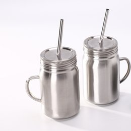 Juice Jar online shopping - Stainless Steel mug Mason Jar single wall ml cup with lid Stainless Steel straw Coffee beer juice mug mason Cans KKA6944