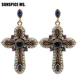 Antique rhinestone eArrings online shopping - Elegent Vintage Turkish Women Cross Long Dangle Earrings Antique Gold Color Resin Rhinestone Multicolor Ethnic Religion Jewelry