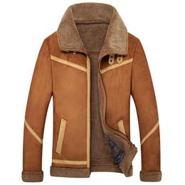 Wholesale mens fur lined leather jackets resale online - Winter Mens Faux Fur Coat Male Suede Leather Jacket Fleece Lined Velvet Thick Slim Thermal Large Fourrure