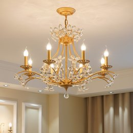 Bedroom Chandeliers Candles Australia - Candle Golden Crystal Chandelier American Country Bedroom Living Room Lustre Study Villa Staircase Crystal Lights