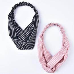 Discount hair for twists - Striped Elastic Turban Twist Chiffon Boho Headband Front Twist Hair Hand Striped Accessories for Women Fashion Accessori