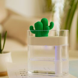 Lighting ideas online shopping - USB New Idea ML Ultrasonic Humidifier Cactus Color Light Essential Oil Diffuser USB Aroma Purifier Anion Steam Diffuser