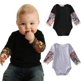 cute tattoos Canada - Summer cotton Newborn Baby Boy Bodysuit Clothes Tattoos Print Long Sleeve Bodysuit Jumpsuit Outfits Black Gray