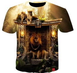 $enCountryForm.capitalKeyWord NZ - Fashion Men Women Lions 3D Print Casual T-Shirt Short Sleeve DF36