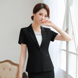 Discount ol suit uniform - Summer Women Blazer Office Lady Elegant Short Sleeve Suit Set Career Business OL Beauty Uniform (Jacket + Skirt) Black