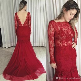 $enCountryForm.capitalKeyWord Australia - Long Sleeves Formal Lace Evening Dresses 2017 Bateau Appliques Beads Mermaid Sheer Back Red Prom Party Gowns Vestidos Plus Size Custom Made