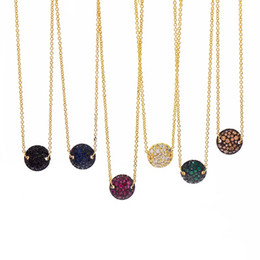 $enCountryForm.capitalKeyWord Australia - Fashion Druzy women necklace 10colors Geometric Natural stone pendant Silver color Link chains For Ladies Jewelry Accessories