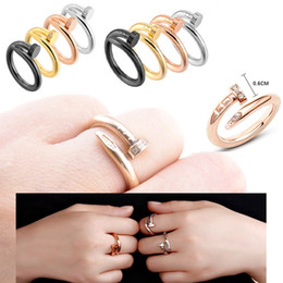 Discount engagement couple ring gold diamond - Stainless Steel Gold Nail rings with diamonds Top Quality silver rose gold lovers Band Rings for Women and Men Couple ri