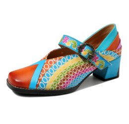 high heeled mary jane shoes UK - 2020 Mary Jane Vintage Spring Summer Pure Handmade Rainbow Print Bohemian Leather High Heels Women's Shoes Sfy46