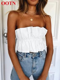 $enCountryForm.capitalKeyWord NZ - Ootn White Crop Tops Women Summer Strapless Tank Top Female 2019 Shirt Backless Tube Top Club Sexy Bow Tie Up Back Beach Wear Y19042801