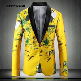 $enCountryForm.capitalKeyWord Australia - Yellow Suit Jacket Luxury Men Print Blazer Slim Fit Floral Men Stage Clothing Blazer Pattern Stylish Party Wedding Jacket 5XL