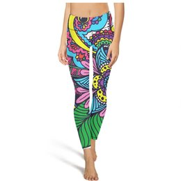 Wholesale tattoo leggings for sale - Group buy Mehndi Art design tattoo High Waist Yoga Pants Womens Gym Yoga Pants Elastic Run Tights Camouflage Leggings Black