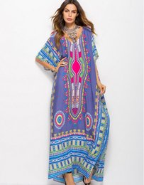 Geometric Design Dresses NZ - New famous design fashion spring and summer women's brand South American style bohemian print loose casual fashion dress